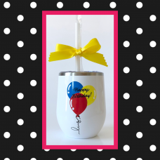 Birthday Balloons Round Travel Tumbler