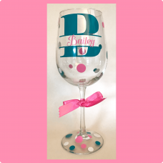 Block Initial Wine Glass