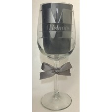 Block Initial  Etched Wine Glass