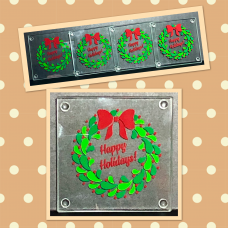 Happy Holidays Berry Wreath Square Coaster Set
