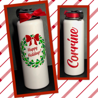 Happy Holidays Berry Wreath Large Thermal Bottle