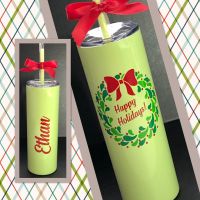 Happy Holidays Berry Wreath Skinny Stainless Steel Tumbler
