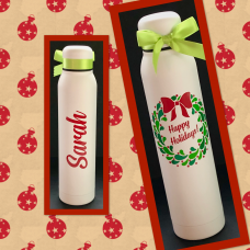 Happy Holidays Berry Wreath Skinny Thermal Water Bottle