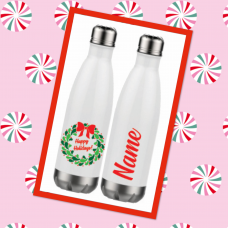 Happy Holidays Berry Wreath Thermal Water Bottle