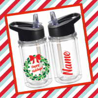Happy Holidays Berry Wreath Small Water Bottle