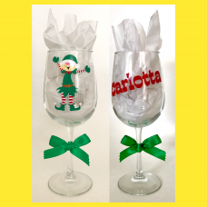 Holiday Elf Wine Glass