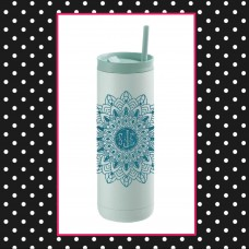 Monogrammed Mandala Thermal Travel Tumbler
