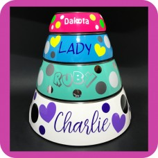 Large Name Pet Bowl with Polka Dots