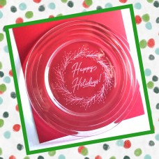Happy Holidays Etched Glass Platter