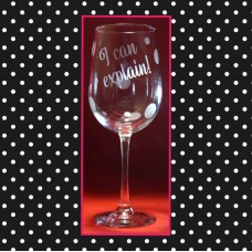 "Santa  ""I Can Explain"" Etched Wine Glass"