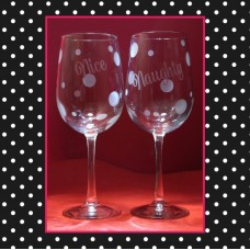 "Santa ""Naughty"" and ""Nice"" Etched Wine Glass Pair"