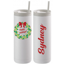 Happy Holidays Berry Wreath Thermal Travel Tumbler